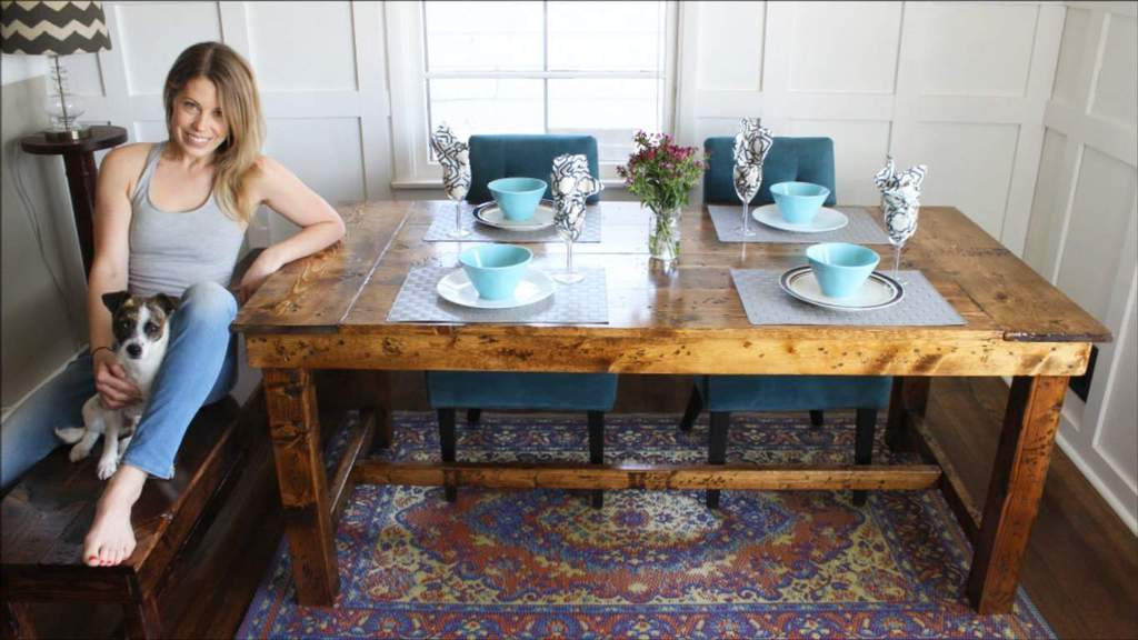 How to Build a Rustic Farmhouse Kitchen Table for ly $50