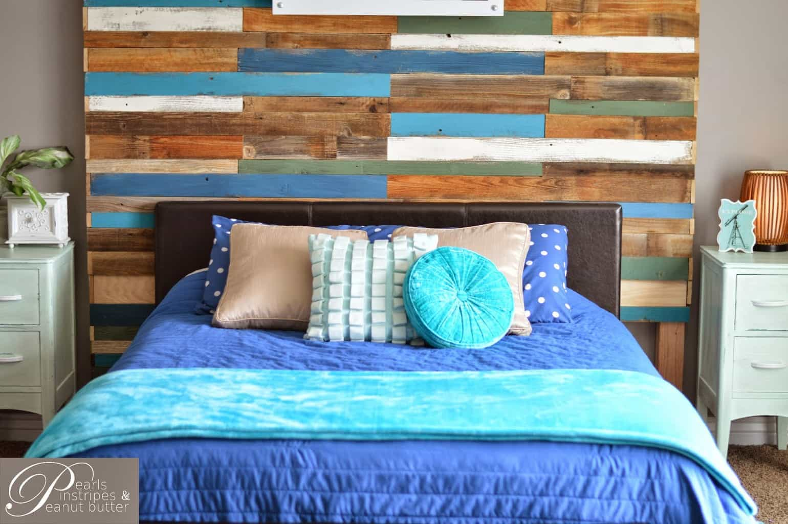 colorful and rustic headboard wall