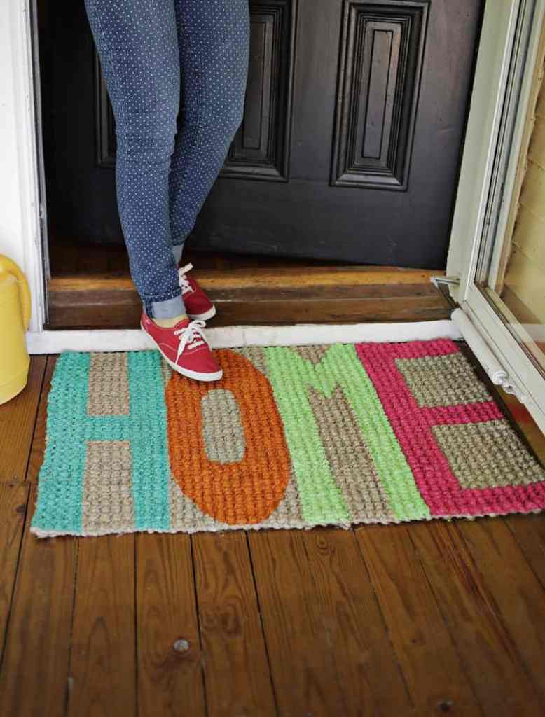 Colorful DIY Welcome Mat