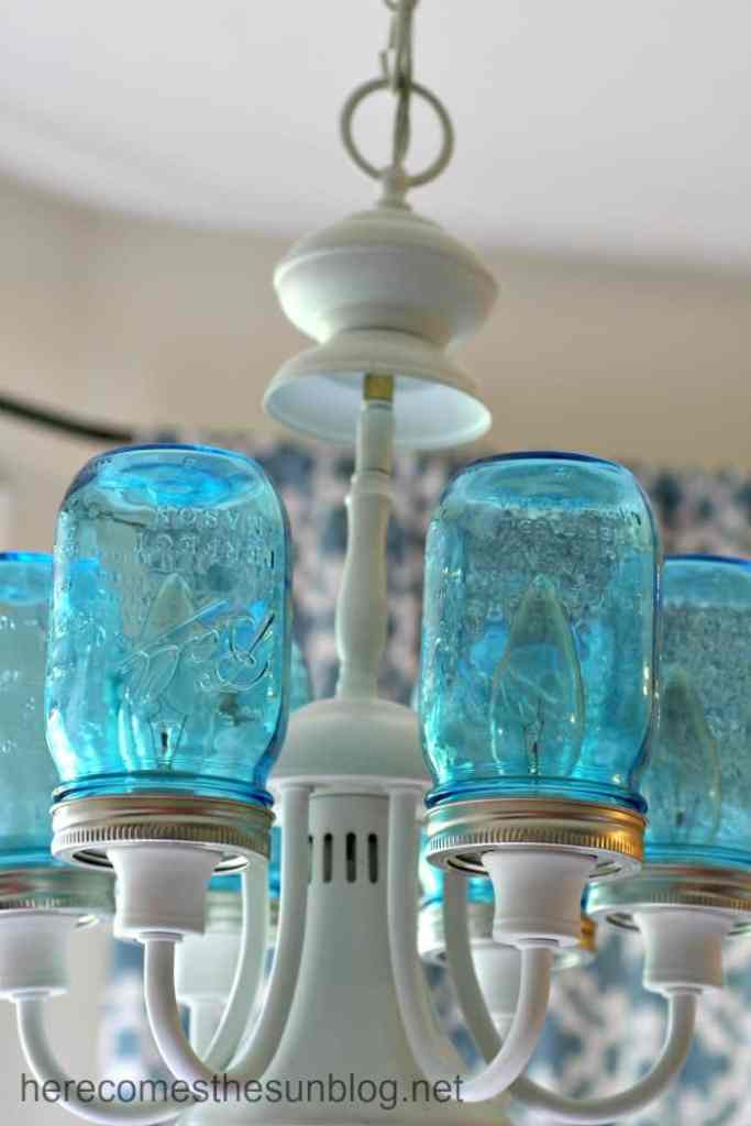 Blue Mason Jar Chandelier DIY