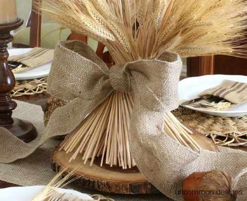 DIY Burlap And Wheat Centerpiece