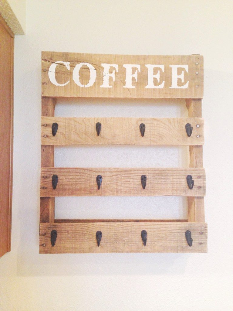 Coffee Mug Holder Pallet Shelf