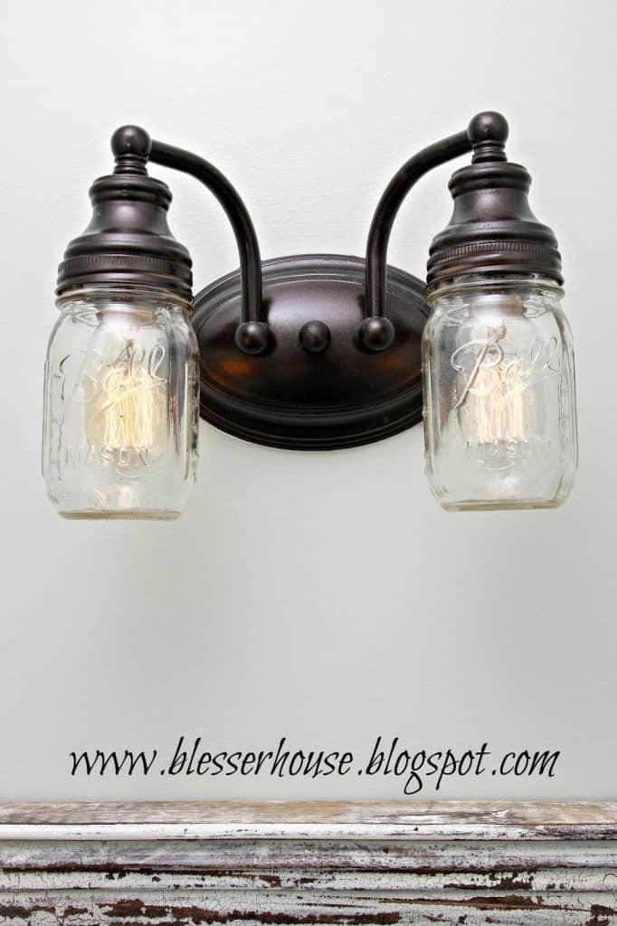 Vanity Light Mason Jar DIY