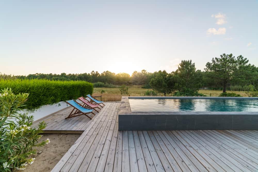 deck pool grey wood