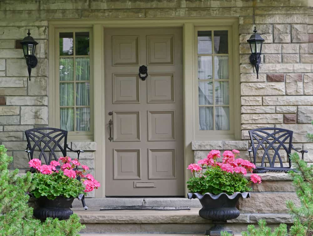 knocker metal chairs flowers porch