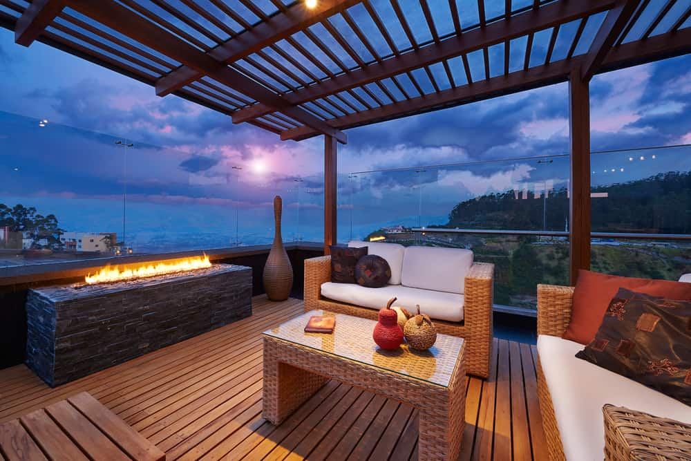 open cover firepit deck