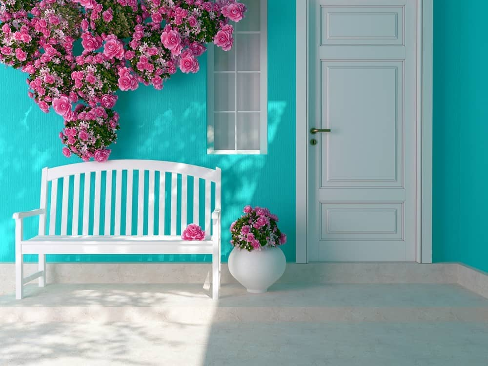 turquoise pink white bench flowers