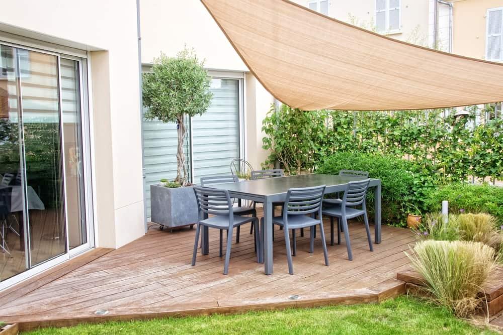 small stone deck tarp cover