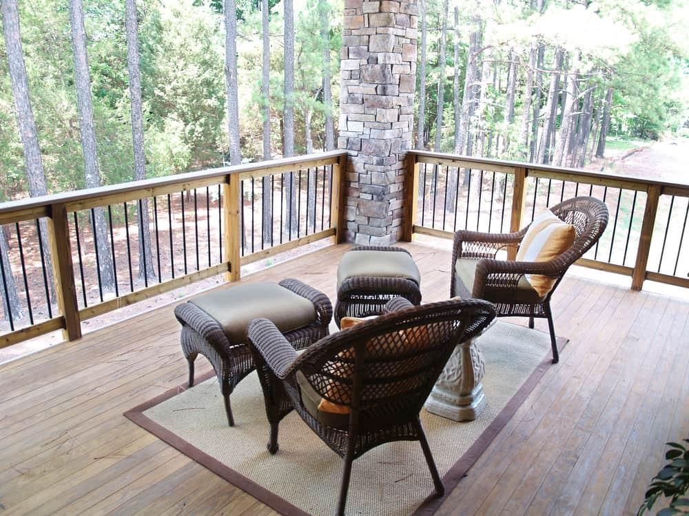 wood railing area rug