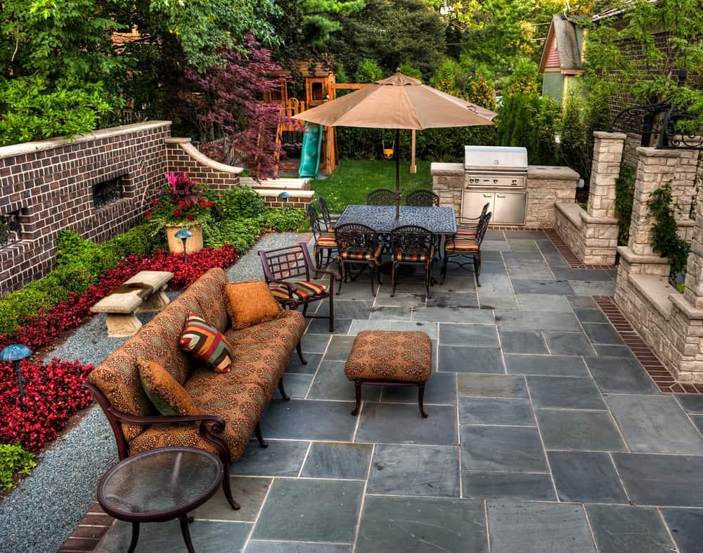 grey stonework double seating areas