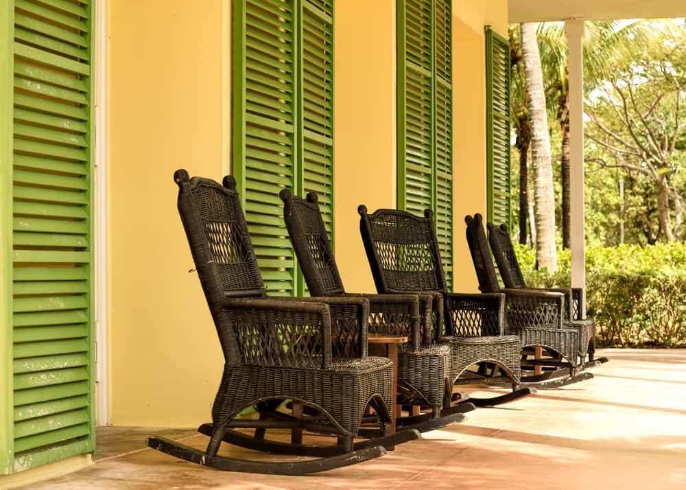 dark wicker rocking chairs
