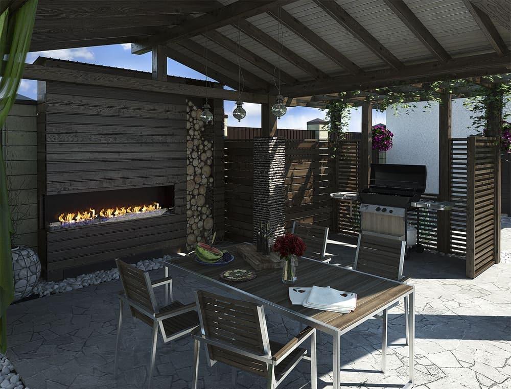 long black fireplace