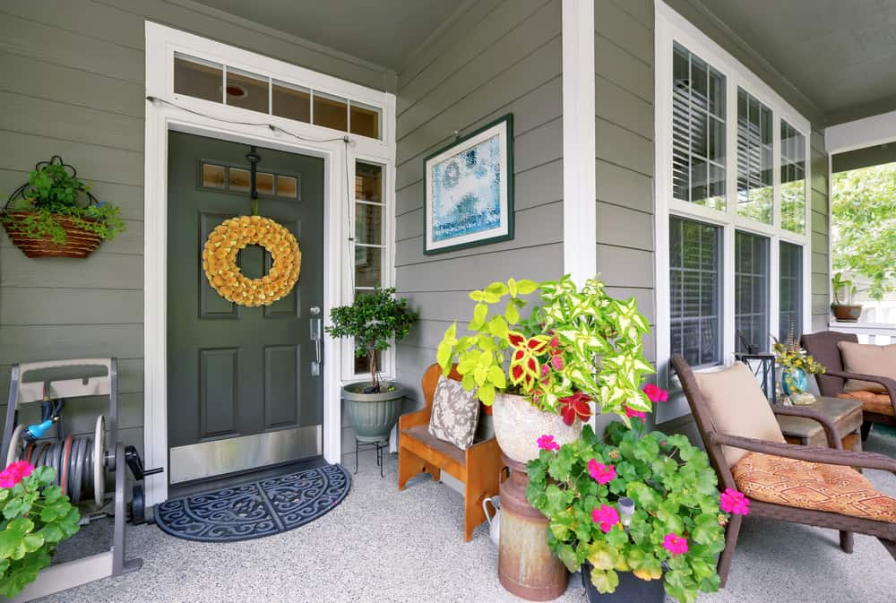 potted plants wreath porch furniture