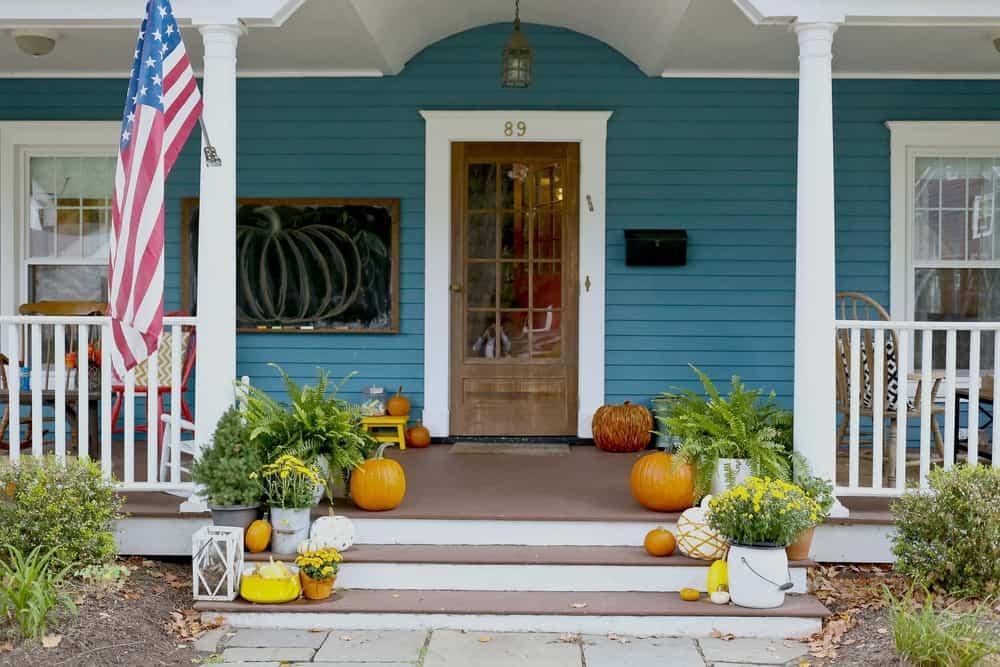 fall pumpkins plants blue facade
