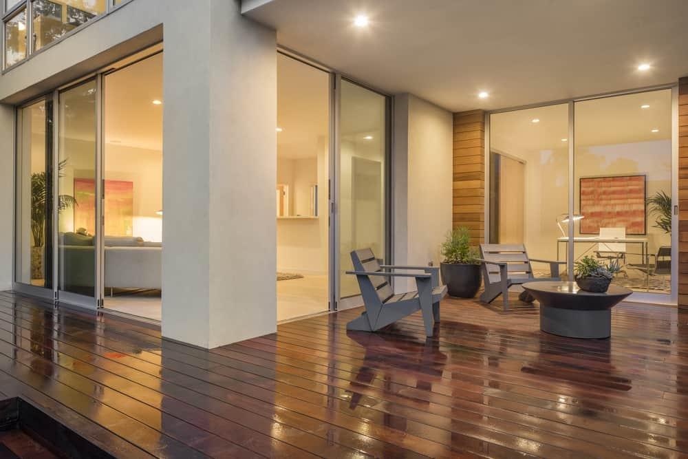 polished dark wood open floorplan