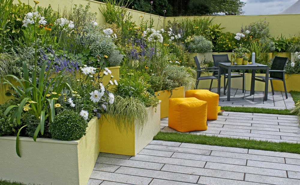 yellow raised gardens orange seating