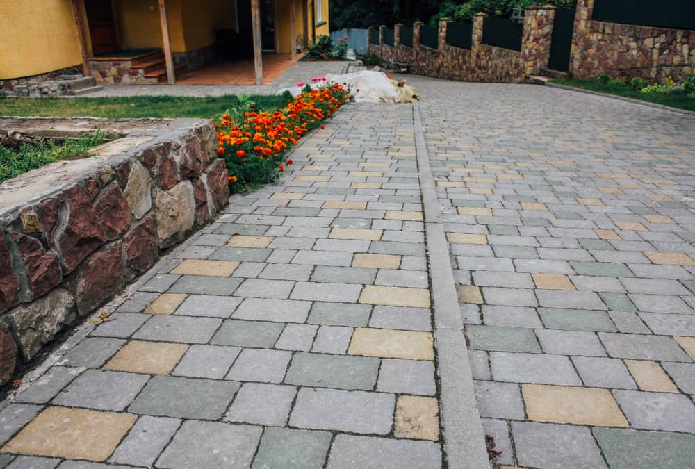 divided patio stone tiling