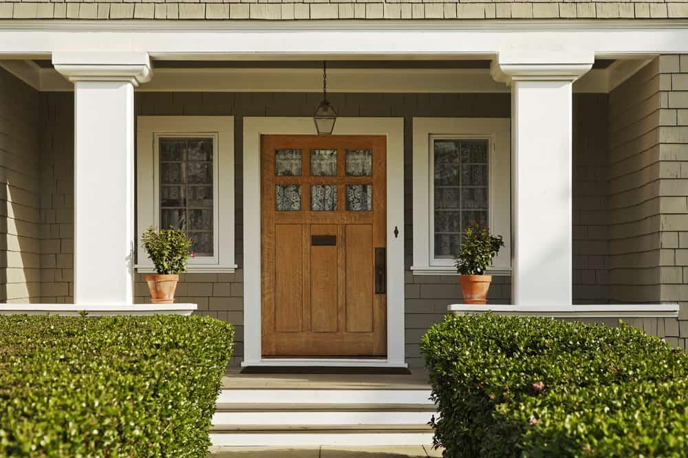 grey paint wood door columns
