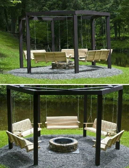 DIY Swings Around Campfire How fun will it be to spend the evening gathered around the campfire on DIY swings? Roast marshmallows and hotdogs while enjoying the great outdoors. Plus, you can swing for hours. Your house is going to turn into the go-to spot for barbecues! thesawguy.com