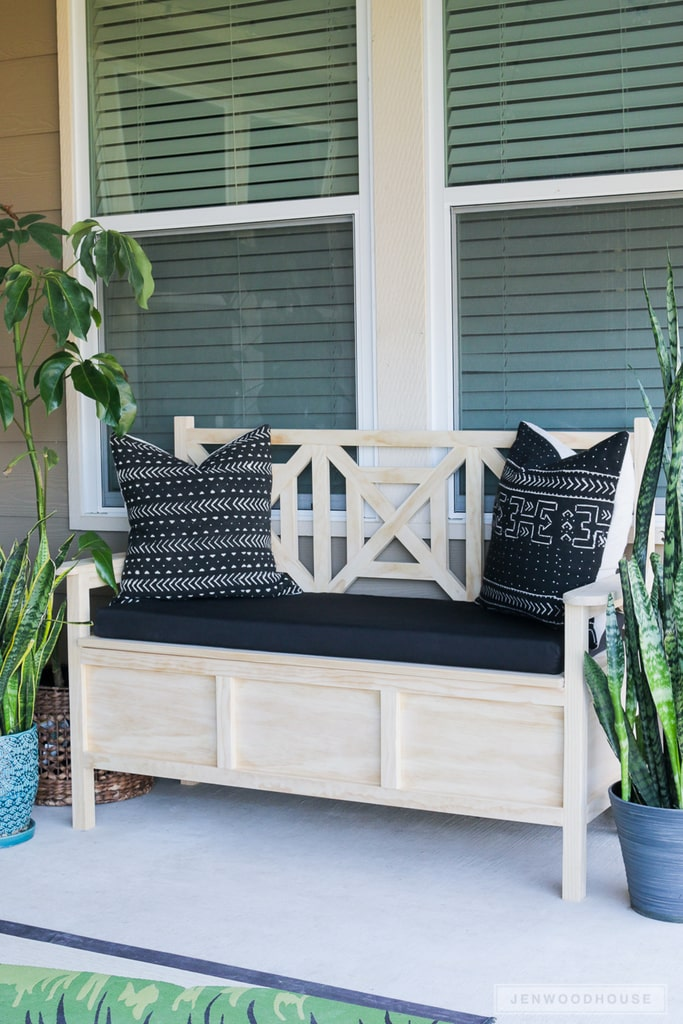 DIY Outdoor Storage Bench It is so convenient to build furniture that also is a storage solution all in one. That is exactly what you get with this DIY outdoor storage bench. Not only does this look fabulous it isn't hard to make either. You can stain the wood or paint it so it will match your other furniture. thesawguy.com
