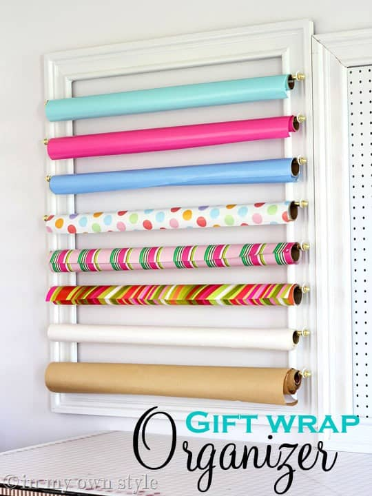 When you open your closet are you flooded with wrapping paper? Say goodbye to that after you make your own gift wrap organization station. It adds character to your room and a pop of color too. thesawguy.com