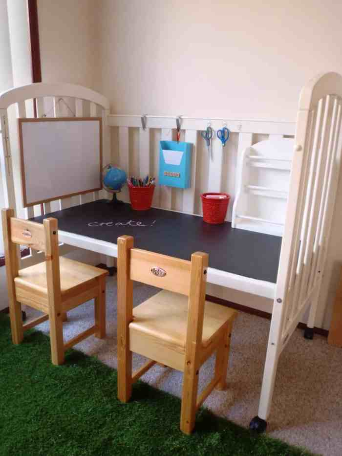 Repurposed Crib Transforming old items into something useful is fun and on the vergeof genius!For example, if you have an old crib sitting around or find a good deal at a yard sale, you can create the most awesome children's art table. thesawguy.com