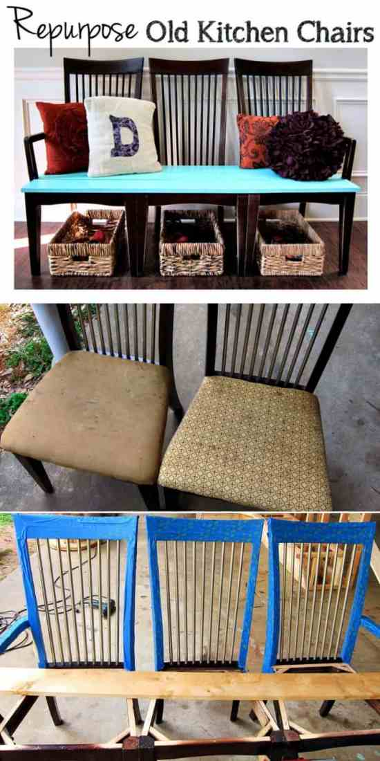 Creative bench from up-cycled chairs - These furniture hacks will turn outdated and old furniture into treasured pieces. From little to no money you can have creative furniture statements throughout your home. thesawguy.com