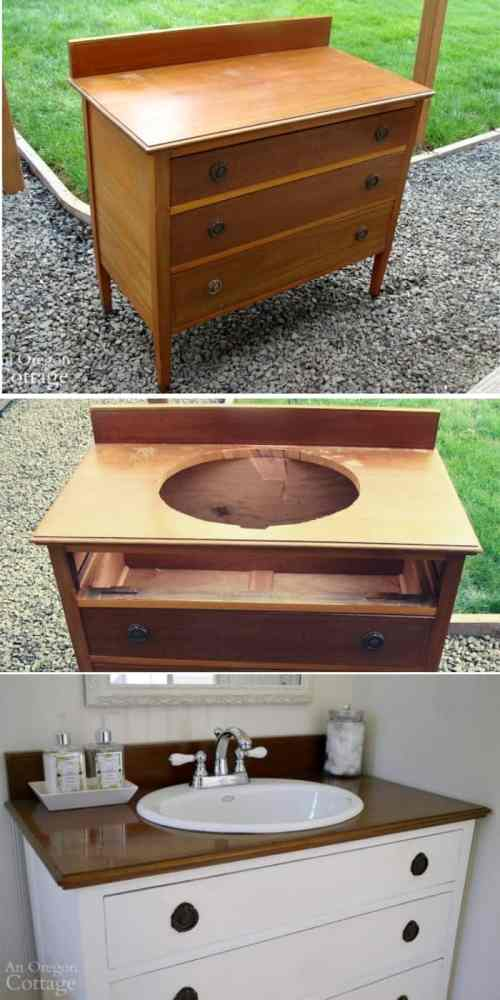 Clothes Dresser to Vanity DIY - These furniture hacks will turn outdated and old furniture into treasured pieces. From little to no money you can have creative furniture statements throughout your home. thesawguy.com