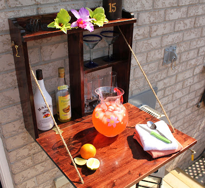DIY Backyard Bar You don't have to have loads of money to have an incredible backyard bar! The best part is that it is hinged so when you are using it you can fold it up and have it out the way. Break out the margaritas for this one! thesawguy.com