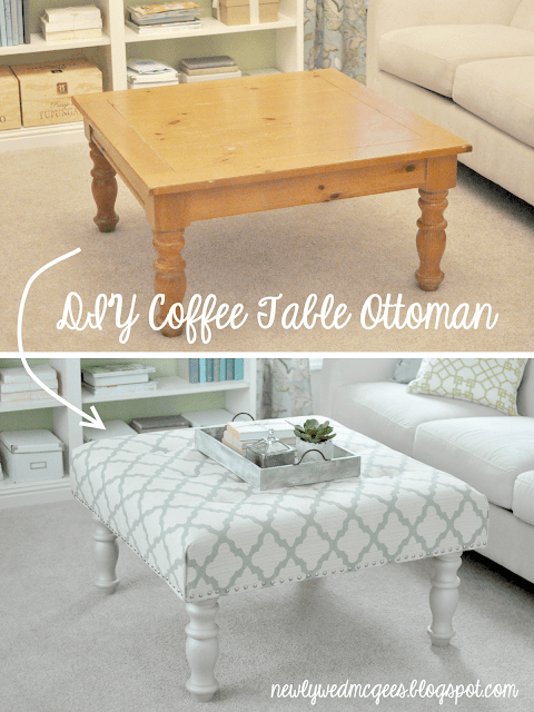 DIY coffee table to ottoman - These furniture hacks will turn outdated and old furniture into treasured pieces. From little to no money you can have creative furniture statements throughout your home. thesawguy.com