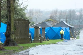 Graves in the Old Monkland Cemetery were exhumed in the search for Moira Anderson's remains