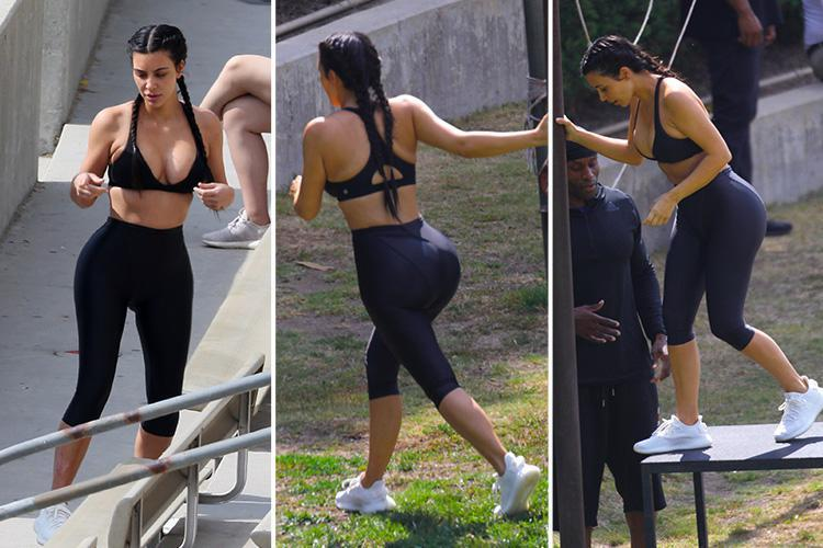 Kim Kardashian Flashes Her Cleavage In Very Plunging Bra