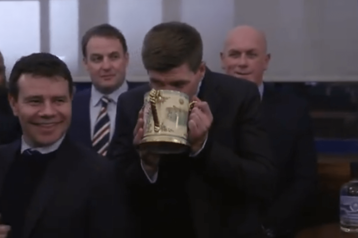Rangers boss Steven Gerrard drinks from Loving Cup as he toasts Queen with Ibrox directors