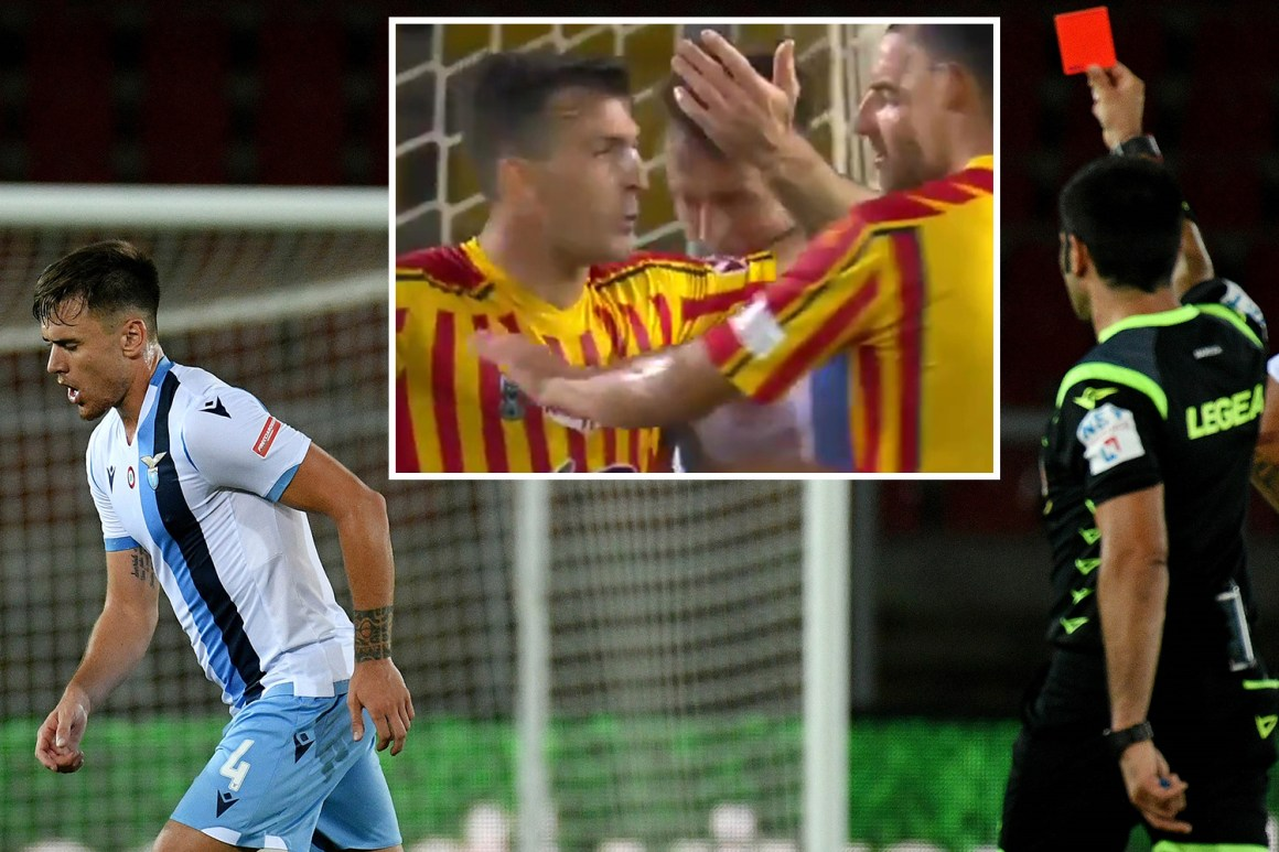 Watch shocking moment Lazio star Patric is sent off for BITING ...