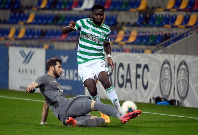 Celtic star Odsonne Edouard in action against Riga