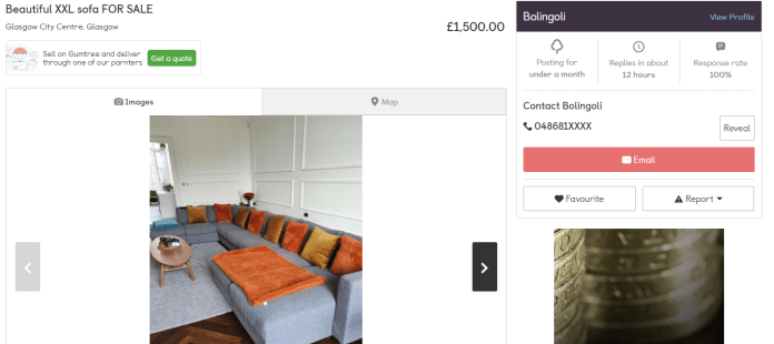 An ad for a sofa appeared on the selling site