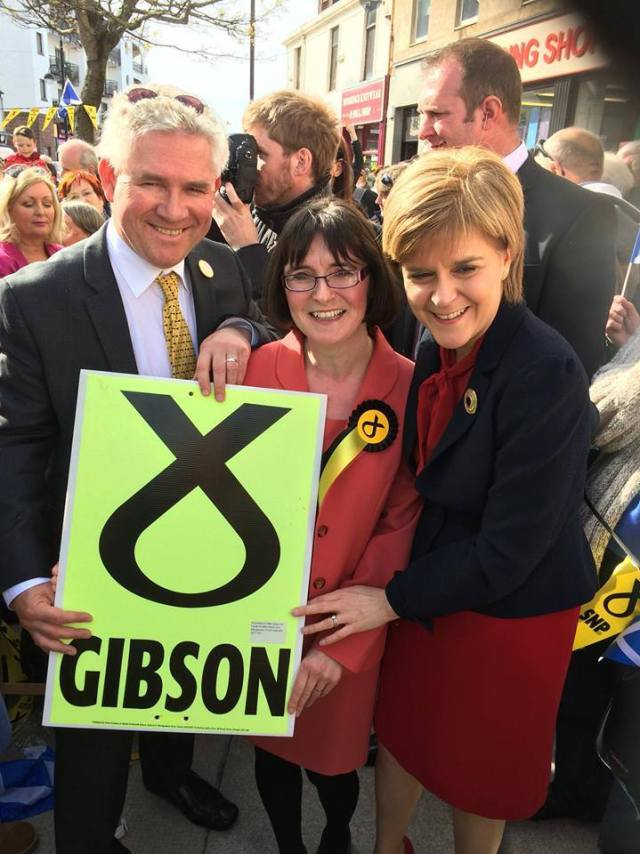 Ms Gibson with MSP husband Kenny Gibson and First Minister