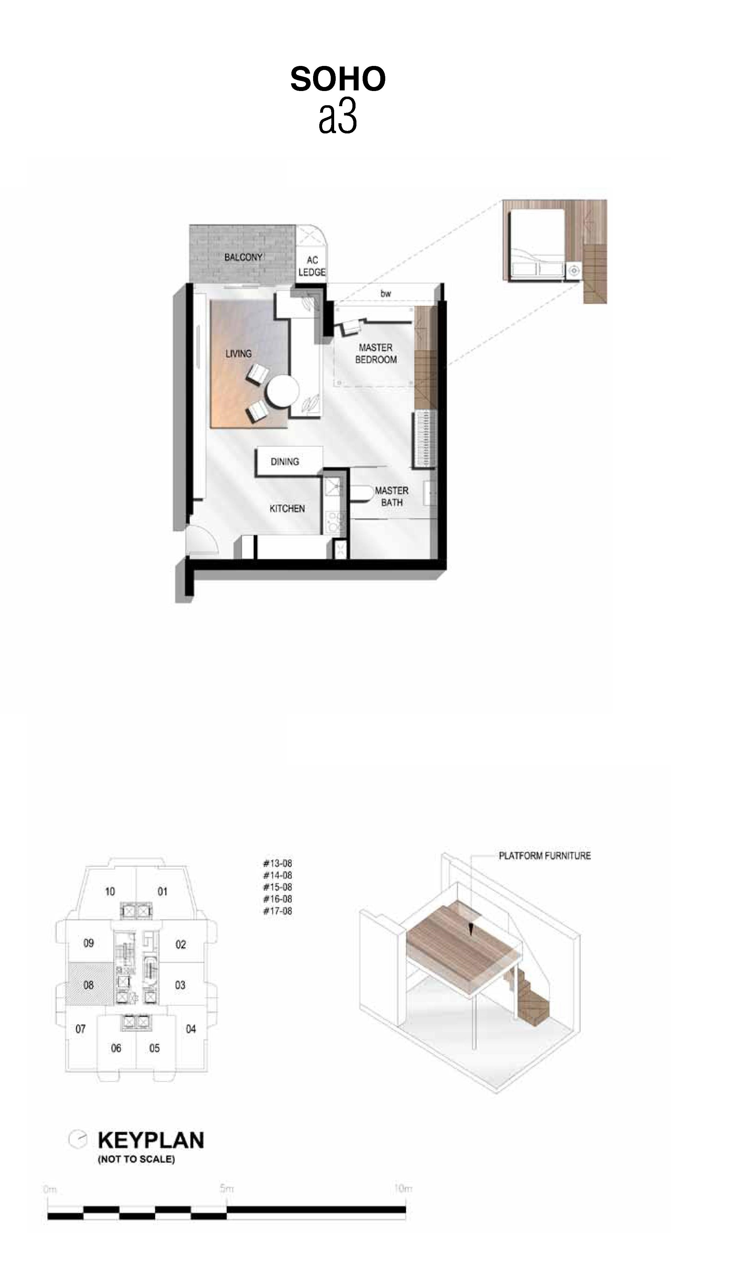 The Scotts Tower 1 Bedroom SOHO Type a3 Floor Plans