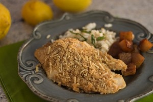 Baked flounder with parmesan crust