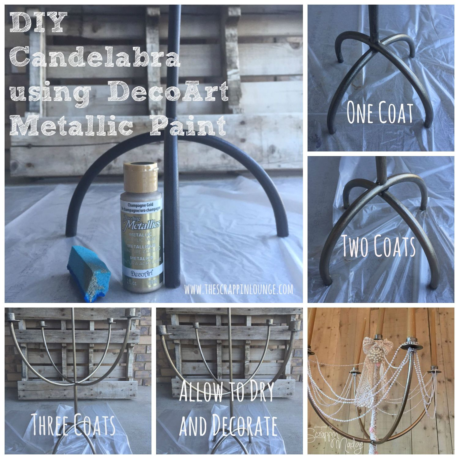DIY Candelabra using Deco Art Metallic Paint