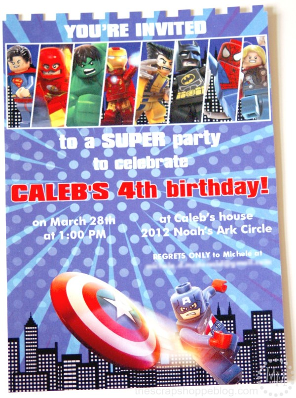 Lego Superhero Birthday Invitation The Scrap Shoppe