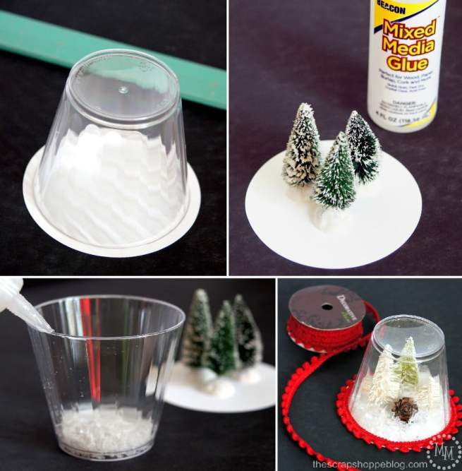 These DIY snow globe ornaments are a fun kid craft and be filledwith just about anything!