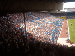 View of the East Stand. Also visible is the South-East stand which housed Tranmere's fans.