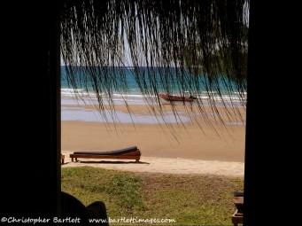 Looking out of the door at Aquaticos Beachside Casitas