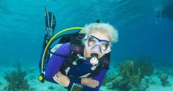 Master Scuba Diver Paula Brazier enjoying some bottom time in Little Cayman.