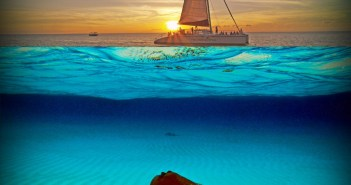 Red Sail Sports' Stingrays and Sunset Catamaran trip visits the Sandbar in late afternoon when all the boat traffic has left so guests can visit with the Stingrays during a quiet time and then enjoy a sunset sail back to the dock.