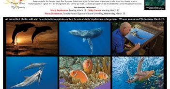 Event poster which includes the prints that will be raffled off to raise money for the Magic Reef Restoration Project. Courtesy Rick Voight, Vivid-pix