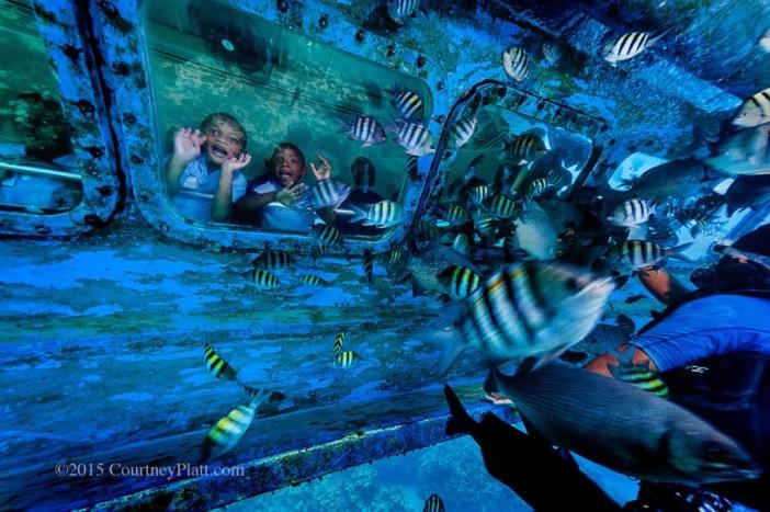 Schoolchildren enjoying the underwater vistas in George Town Harbour aboard the Atlantis Submarine.