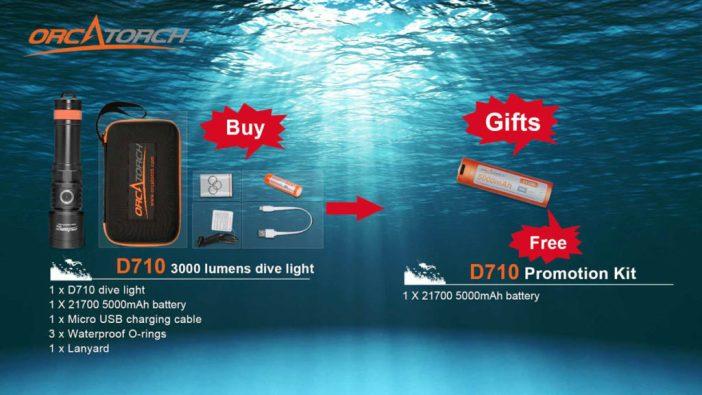 Buy OrcaTorch D710 Dive Light, Get a 21700 5000mAh Battery Free
