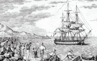 SPN Old Sailing Ship Engraving